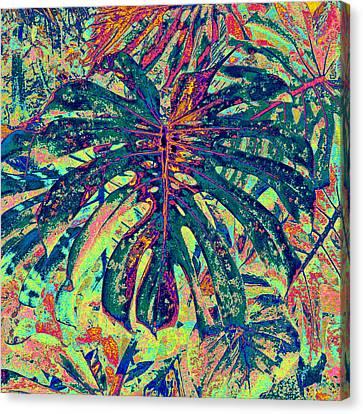 Monstera Leaf Patterns - Square Canvas Print by Kerri Ligatich