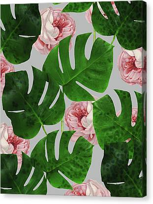 Monstera Rose Pattern Canvas Print