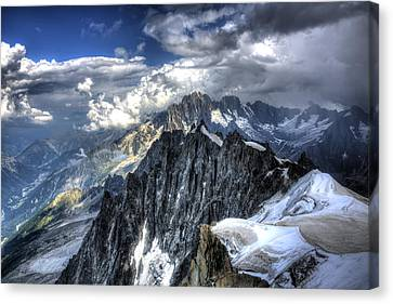 Canvas Print featuring the photograph Mont Blanc Near Chamonix In French Alps by Shawn Everhart