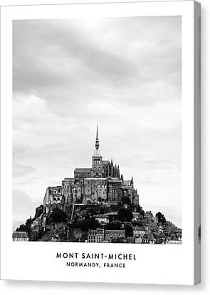 Mont Saint-michel Black And White Photo Canvas Print