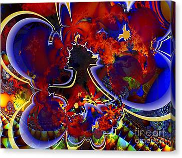 Montage In Reds And Blues Canvas Print by Ron Bissett