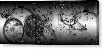 Montage Of Old Pocket Watches Canvas Print by Panoramic Images