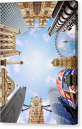 Montage Picture Of London Landmarks, View From Below (digital Composite) Canvas Print by Caroline Purser