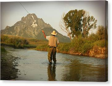 Montana Fly Fishing Canvas Print by Guy Crittenden