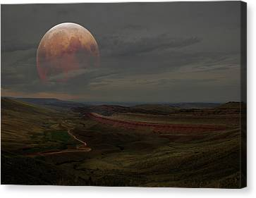 Montana Landscape On Blood Moon Canvas Print