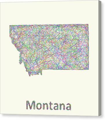 Montana Line Art Map Canvas Print by David Zydd
