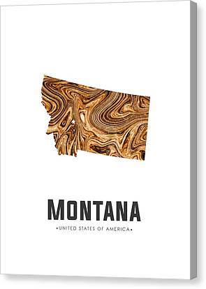Montana State Map Canvas Print - Montana Map Art Abstract In Brown by Studio Grafiikka