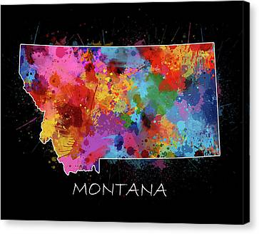 State Of Montana Canvas Print - Montana Map Color Splatter 2 by Bekim Art