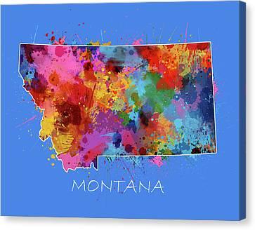 State Of Montana Canvas Print - Montana Map Color Splatter 3 by Bekim Art