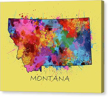 State Of Montana Canvas Print - Montana Map Color Splatter 4 by Bekim Art