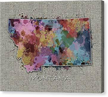 State Of Montana Canvas Print - Montana Map Color Splatter 5 by Bekim Art