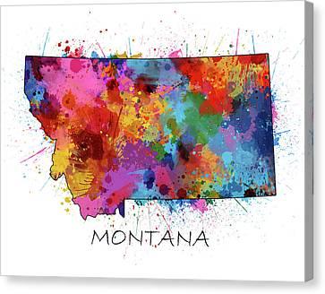 State Of Montana Canvas Print - Montana Map Color Splatter by Bekim Art