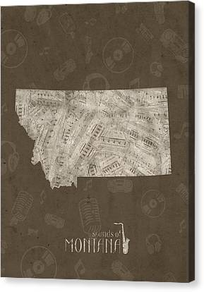 State Of Montana Canvas Print - Montana Map Music Notes 3 by Bekim Art
