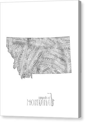 State Of Montana Canvas Print - Montana Map Music Notes by Bekim Art