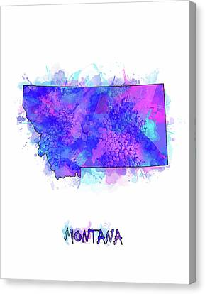 State Of Montana Canvas Print - Montana Map Watercolor 2 by Bekim Art