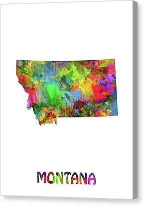 State Of Montana Canvas Print - Montana Map Watercolor by Bekim Art