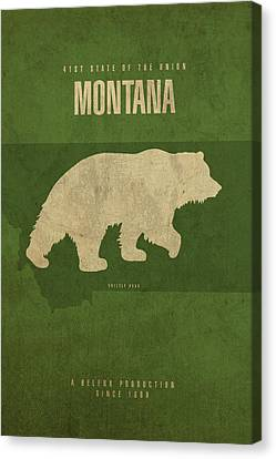 Montana State Facts Minimalist Movie Poster Art Canvas Print by Design Turnpike