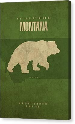 Montana State Facts Minimalist Movie Poster Art Canvas Print