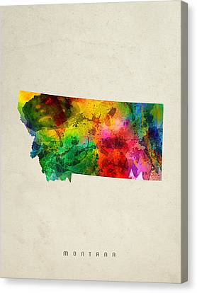 Montana State Map 01 Canvas Print by Aged Pixel