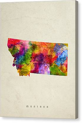 Montana State Map 02 Canvas Print by Aged Pixel