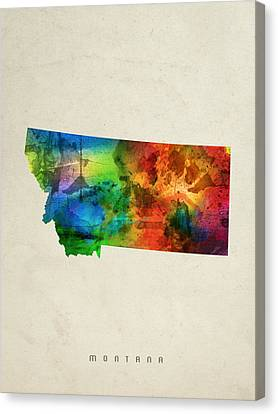 Montana State Map 03 Canvas Print by Aged Pixel
