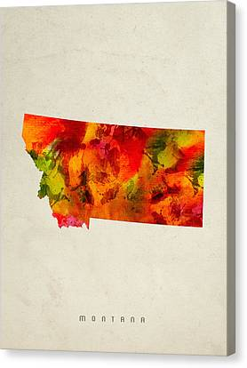 Montana State Map 04 Canvas Print by Aged Pixel