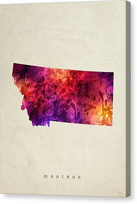 Montana State Map 05 Canvas Print by Aged Pixel