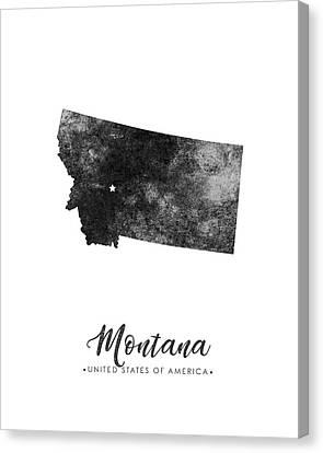 Montana State Map Art - Grunge Silhouette Canvas Print