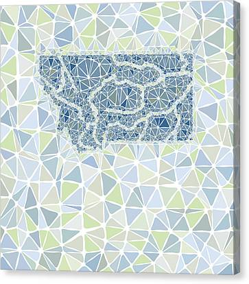 Montana State Map Geometric Abstract Pattern Canvas Print by Hieu Tran