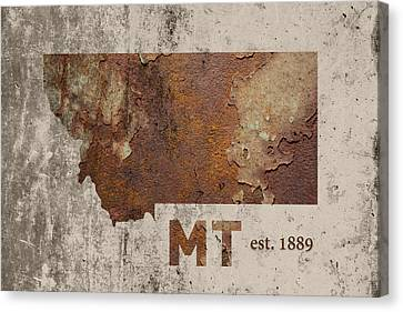 Montana State Map Industrial Rusted Metal On Cement Wall With Founding Date Series 041 Canvas Print by Design Turnpike