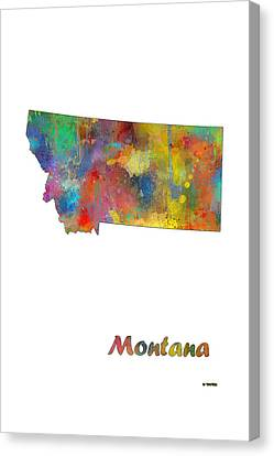 Montana State Map Canvas Print by Marlene Watson
