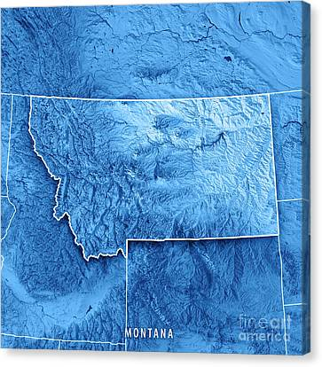 Canvas Print - Montana State Usa 3d Render Topographic Map Blue Border by Frank Ramspott