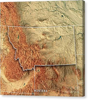 Canvas Print - Montana State Usa 3d Render Topographic Map Border by Frank Ramspott