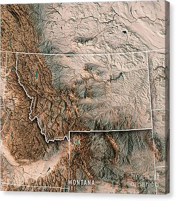 Canvas Print - Montana State Usa 3d Render Topographic Map Neutral Border by Frank Ramspott