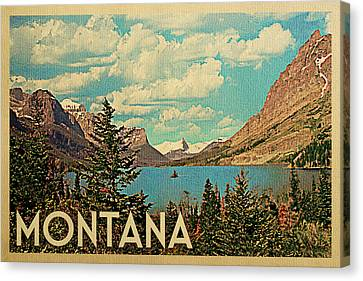 Montana Travel Poster - Vintage Travel Canvas Print by Flo Karp