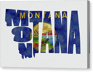 Montana Typography Map Flag Canvas Print by Kevin O'Hare