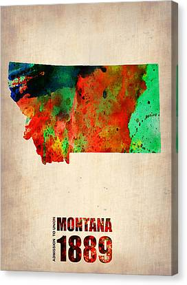 World Map Canvas Print - Montana Watercolor Map by Naxart Studio