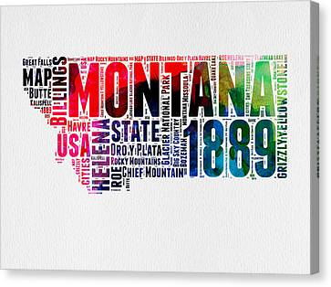 Montana Watercolor Word Cloud  Canvas Print by Naxart Studio