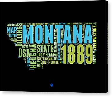Montana Word Cloud 1 Canvas Print by Naxart Studio