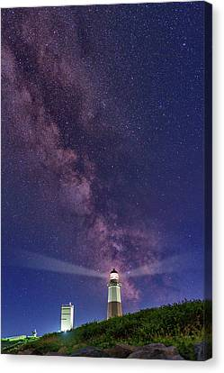 Montauk Point And The Milky Way Canvas Print by Rick Berk
