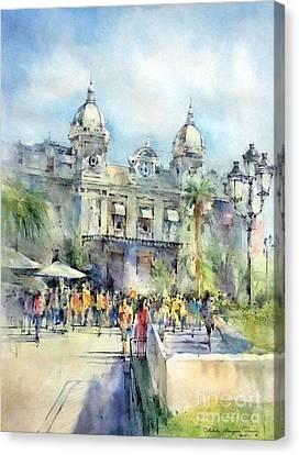 Monte Carlo Casino - Monaco Canvas Print by Natalia Eremeyeva Duarte