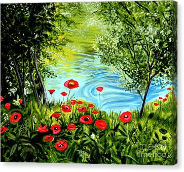 Canvas Print featuring the painting Monte Rio Poppies by Elizabeth Robinette Tyndall
