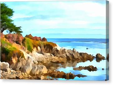 Canvas Print featuring the photograph Monterey Coastline Watercolor by Floyd Snyder