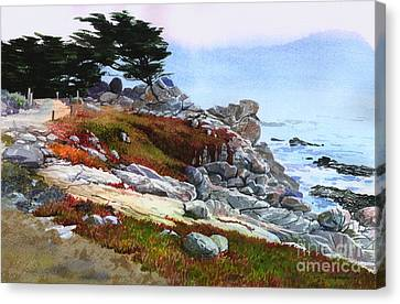 Canvas Print featuring the painting Monterey Coast by Sergey Zhiboedov