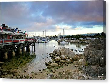 Monterey Harbor - Old Fishermans Wharf - California Canvas Print by Brendan Reals
