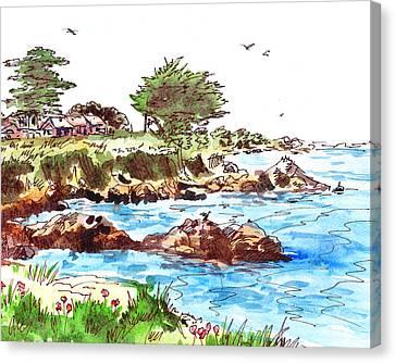Canvas Print featuring the painting Monterey Shore by Irina Sztukowski