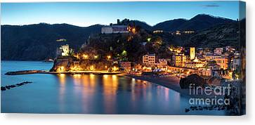 Canvas Print featuring the photograph Monterosso Al Mare At Twilight by Brian Jannsen