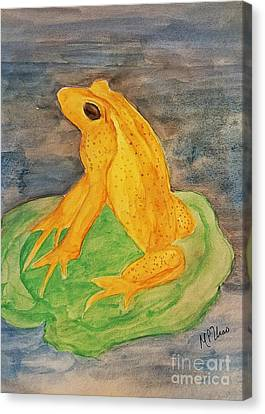 Canvas Print featuring the painting Monteverde Golden Frog by Maria Urso