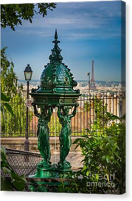 Montmartre Wallace Fountain Canvas Print by Inge Johnsson