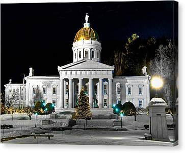 Montpelier Christmas Eve Night Canvas Print